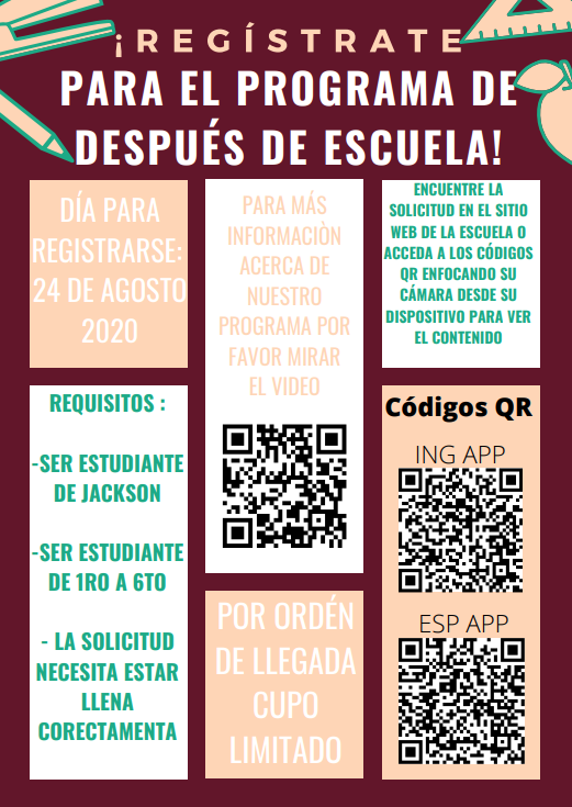 Spanish After School Program Application